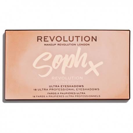 MAKEUP REVOLUTION ULTRA EYESHADOWS PALETA 18 CIENI DO POWIEK SOPH X EXTRA SPICE